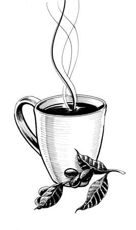 Coffee cup and coffee bean. Ink illustration