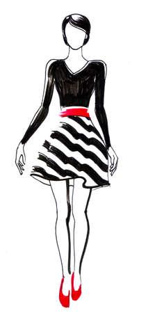 Fashion model. Ink illustration