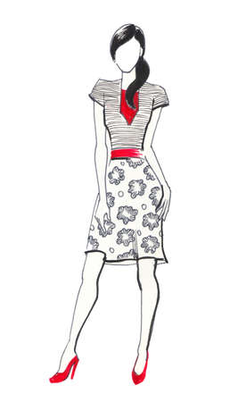 Fashion sketch. Ink illustration