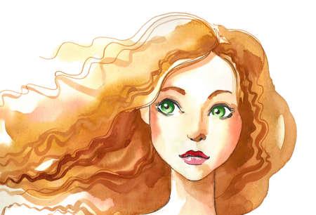 Mädchen mit einem Ingwerhaar. Aquarell-Skizze Standard-Bild - 90411977
