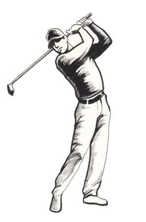 Golfer. Ink illustration 写真素材