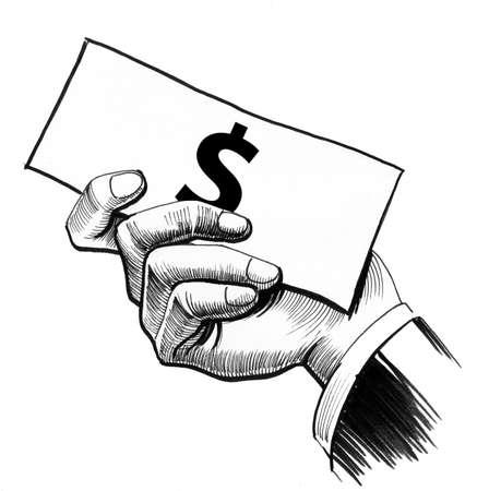 달러 지폐와 손 스톡 콘텐츠 - 90411986
