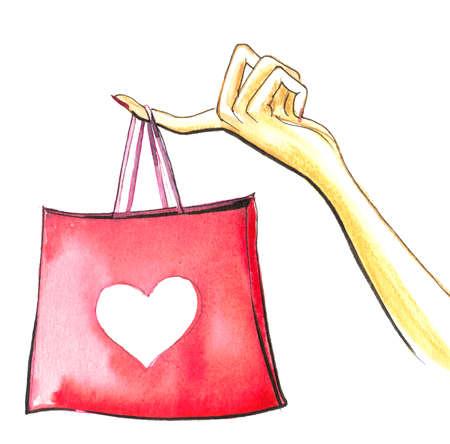 買い物袋を持つ手
