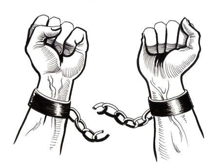 Rompiendo cadenas Foto de archivo - 90411994