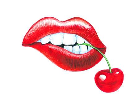 唇とチェリー 写真素材 - 90412012