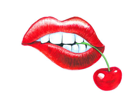 Lips and cherry