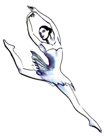 Dancing ballerina. Ink and watercolor illustration Stockfoto - 107950967
