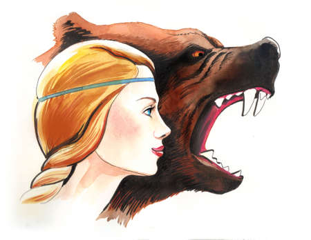 Beauty and bear. Ink and watercolor illustration