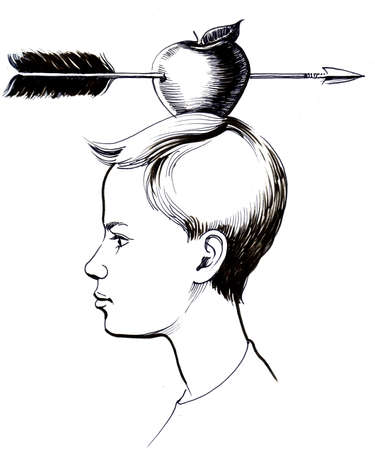 Boy with an apple pierced with arrow