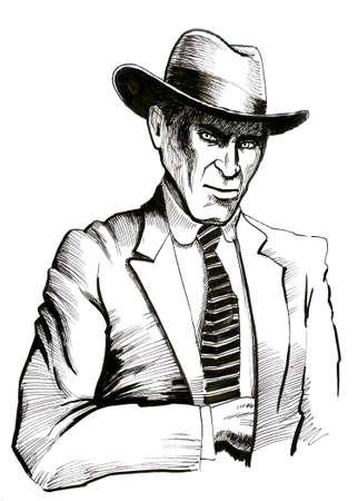 Amerikaanse gangster. Zwart-witte inktillustratie