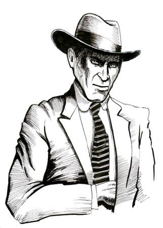 American gangster. Black and white ink illustration