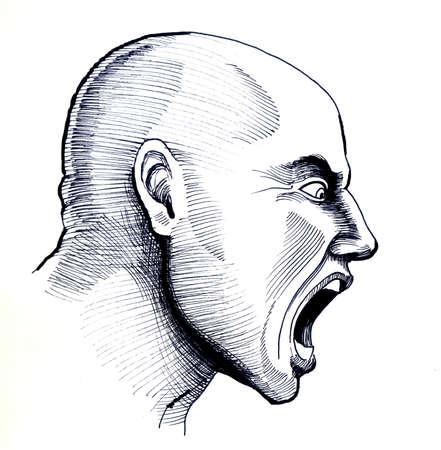 怒っている大胆な男。白黒インクイラスト