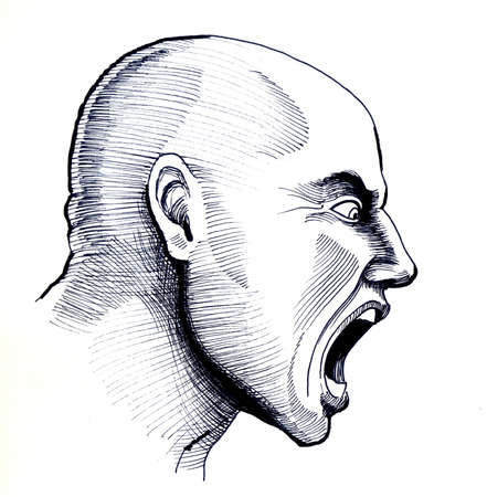 Angry bold man. Black and white ink illustration