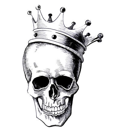 Dead king in the crown. Black and white ink illustration