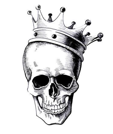 Roi mort dans le noir et blanc encre illustration de vis Banque d'images - 93194135