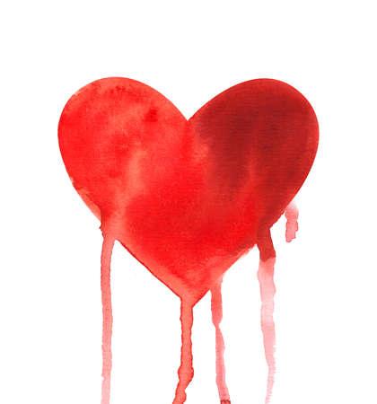 Bleeding red heart. Watercolor illustration Stock Photo