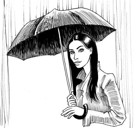 Jolie fille avec un parapluie debout dans la pluie Banque d'images - 93296552