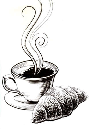 Cup of coffee and croissant black and white ink illustration