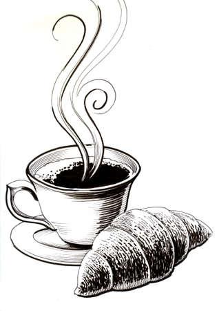 Illustrazione in bianco e nero dell'inchiostro del croissant e della tazza di caffè Archivio Fotografico - 93194140