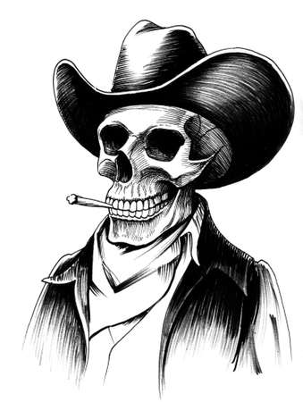 Dead cowboy smoking a cigarette