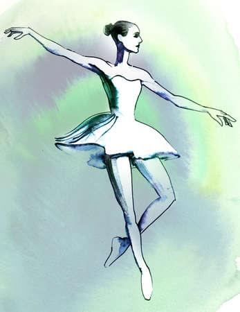 Watercolor ballerina Foto de archivo - 134862288