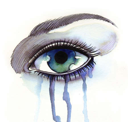 Green eye and tears