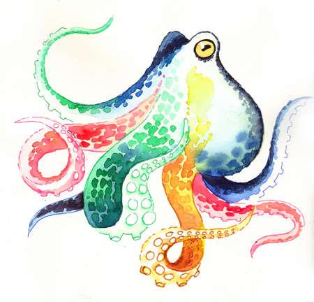 Rainbow octopus 스톡 콘텐츠
