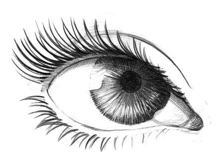 目の鉛筆スケッチ