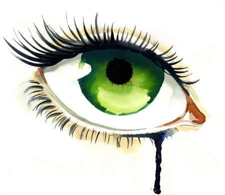 Huilend groen oog Stockfoto