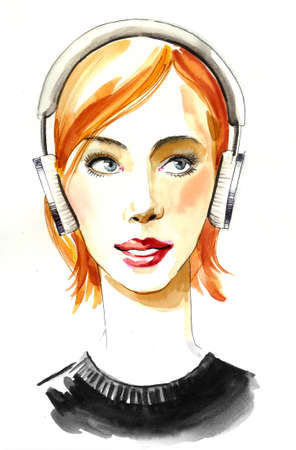 Pretty girl in headphones Stok Fotoğraf