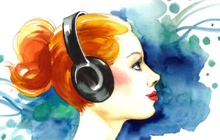 Pretty girl in headphones Banco de Imagens