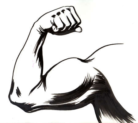 Strong hand showing biceps curl