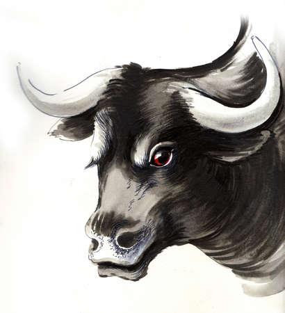 Zwarte stier schets Stockfoto