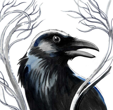 Raven on a tree. watercolor illustration