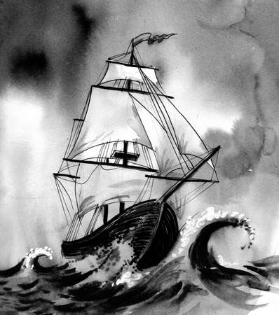 Sailing ship in a stormy sea 스톡 콘텐츠