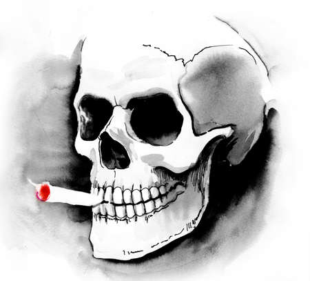 Schedel met een sigaret Stockfoto