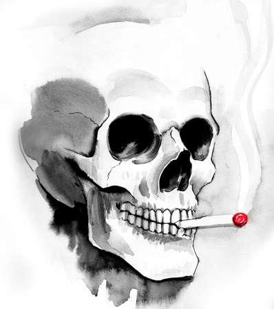 Smoking skull Reklamní fotografie