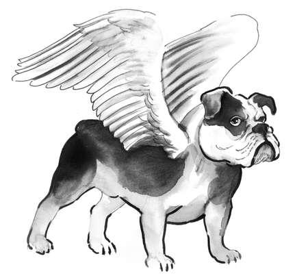 Winged bulldog Фото со стока - 94120758