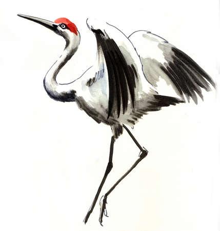 Watercolor crane Imagens
