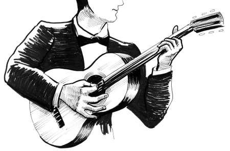 기타를 연주하는 남자 스톡 콘텐츠