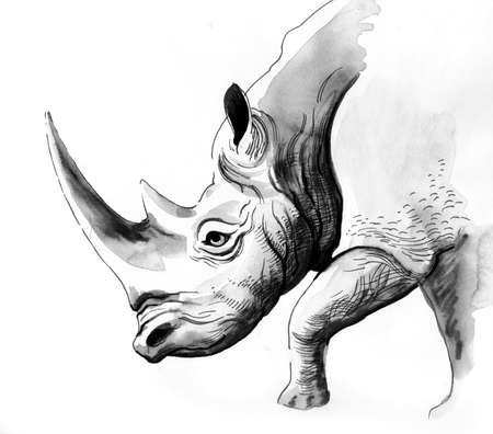 Atramentowy czarno-biały rysunek nosorożca