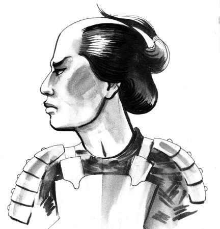 Samurai Japanese profile 삽화 스톡 콘텐츠 - 94298434