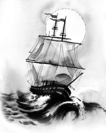 폭풍우 치는 바다에서 높이 항해 배
