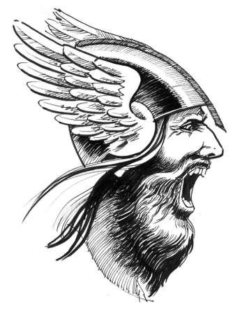 Angry viking in winged helmet