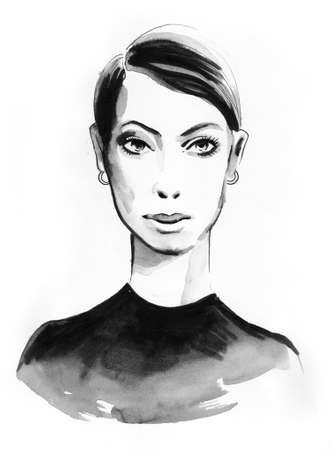 Pretty woman. Ink sketch