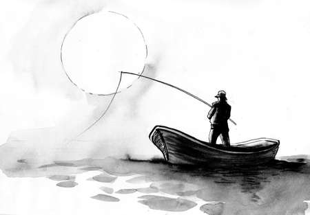 Fishing man in the boat