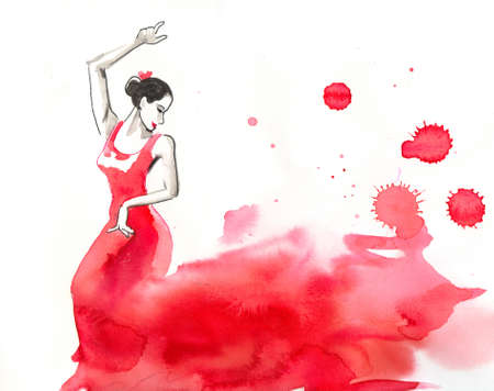 Flamenco dancer in red dress