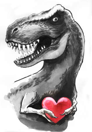 T Rex with a heart