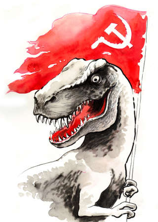 T Rex with a Soviet flag