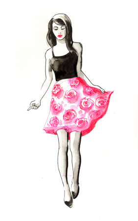 Fashion model in black top and rosy skirt